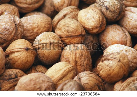 Plenty of walnuts each other done. - stock photo