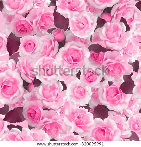 Plenty Pink natural roses seamless background. Nostalgic roses endless pattern. - stock photo