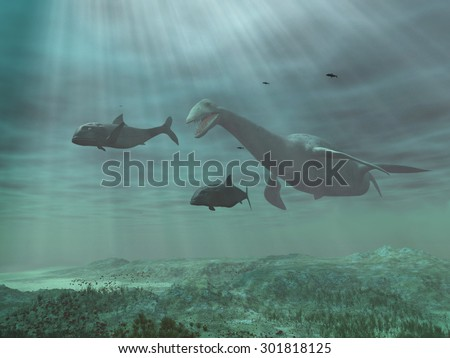 Plesiosaur chasing fish - stock photo
