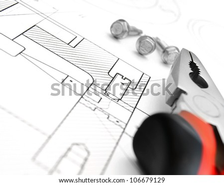 Pliers, screws on the drawing.