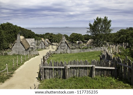 Plimoth plantation at Plymouth, MA - stock photo