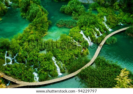 Plitvice lakes and waterfalls in Croatia - stock photo