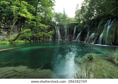 Plitvice Lakes National Park and waterfalls in Croatia