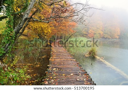 Plitvice Lakes National Park in autumn ,  Croatia