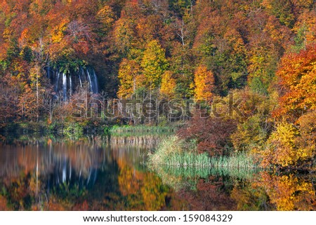 Plitvice lakes of Croatia (Hrvatska) - national park in autumn - stock photo