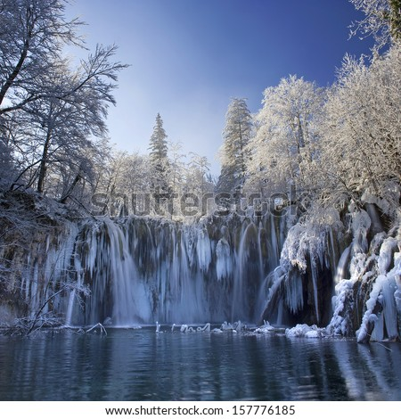 Plitvice lakes of Croatia (Hrvatska) - national park in winter - stock photo