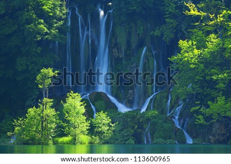 Plitvice lakes of Croatia - national park summer - stock photo