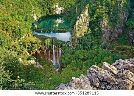 Plitvice national park - biggest attraction - gorgeous view of lower lakes in summer