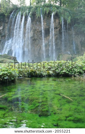 Plitvice - waterfall - stock photo