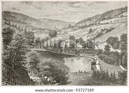 Plombieres-les-Bains park old view. Created by Clerget, published on Le Tour du Monde, Paris, 1867 - stock photo