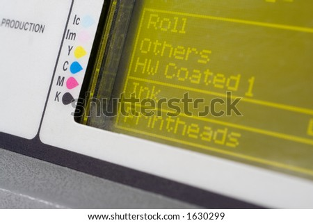 Plotter close up. Focus on coler tables - stock photo