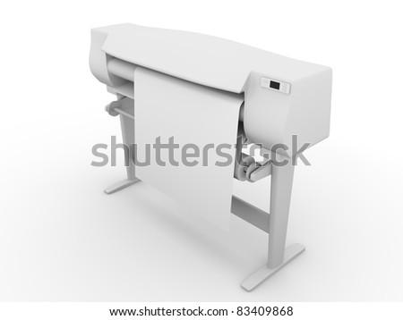 Plotter. Large printer for digital printing. 3d render - stock photo