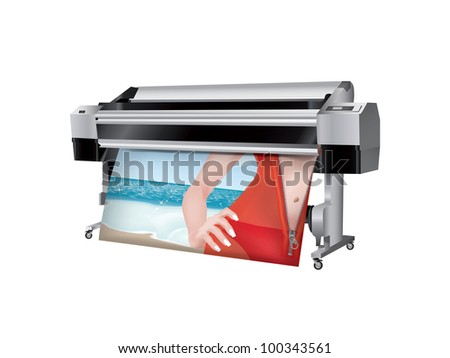 Plotter with bikini girl in trasparent robes printed