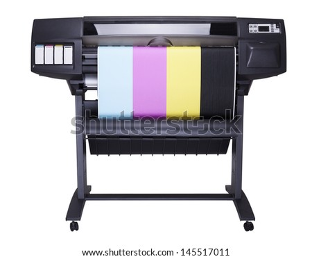 Plotter with roll of paper printed CMYK Colors isolated on white background