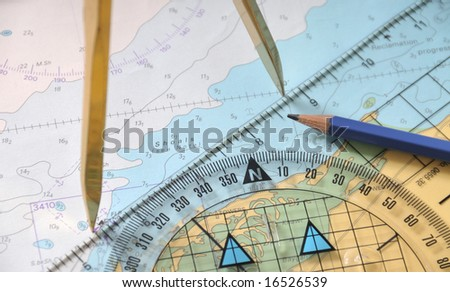 Plotting On A Seamap - stock photo