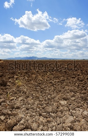 plough plowed brown clay soil field blue sky horizon - stock photo