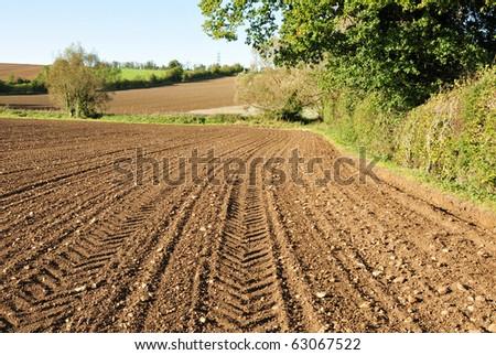 Ploughed Farmland in Autumn - stock photo