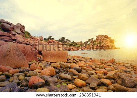 Ploumanach, Pink Granite Coast, Brittany, France - stock photo