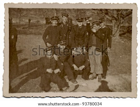 PLOVDIV , BULGARIA , CIRCA 1945 - An unidentified group of soldiers - stock photo