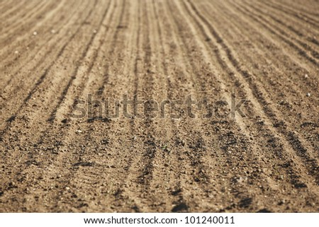 Plowed field in spring - selective focus - stock photo