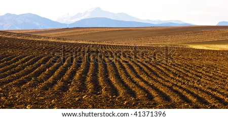 Plowed field with view of distant Long's Peak in Colorado in Winter - stock photo