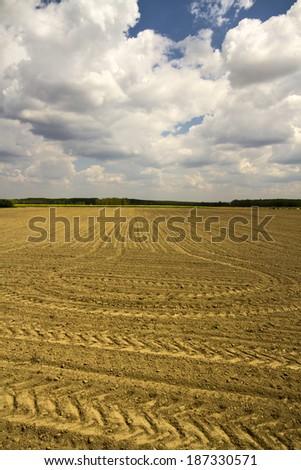 plowed soil - stock photo