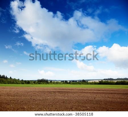 plowed spring field - stock photo