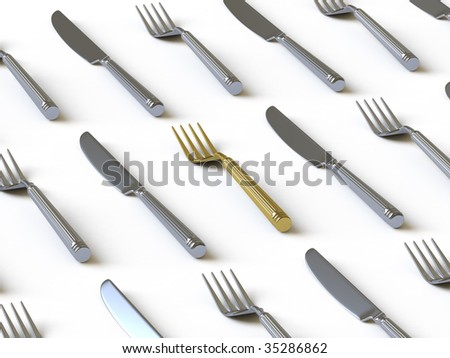 Plug and knife. In my portfolio there is collection of pictures of tablewares and gold. You only enter IN a SEARCH the Photographer Name: PAVEL IGNATOV and keyword: TABLEWARE or GOLD - stock photo