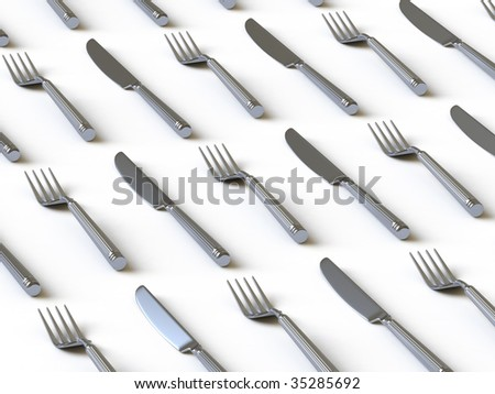 Plug and knife. In my portfolio there is collection of pictures of tablewares. You only enter IN a SEARCH the Photographer Name: PAVEL IGNATOV and keyword: TABLEWARE - stock photo