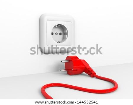 Plug and socket. 3D illustration. - stock photo