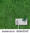 Plug and socket on the grass - stock photo