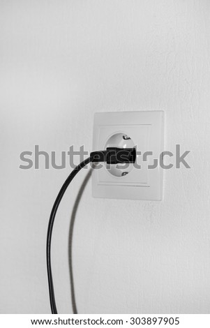 plug and socket on the white background  - stock photo