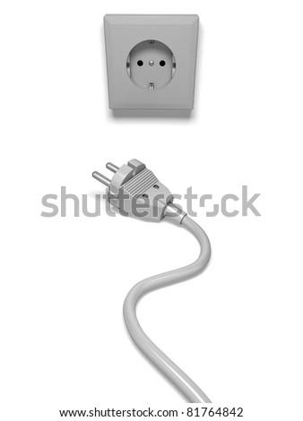 Plug and socket on white - stock photo