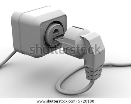 Plug and socket with symbol for internet. 3d