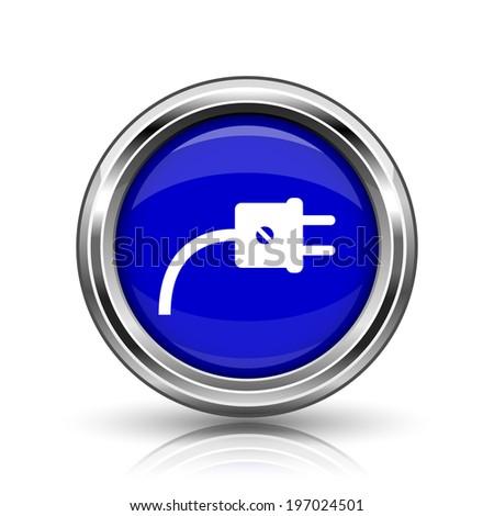 Plug icon. Shiny glossy internet button on white background.  - stock photo