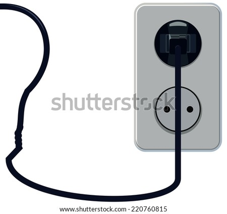 Plug in the socket with the bulb wire vvide - stock photo