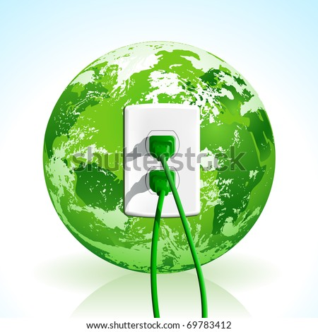 Plug into the energy of Planet Earth! Concept with green plugs and outlet. - stock photo