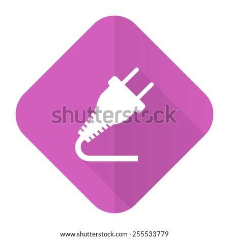 plug pink flat icon electricity sign  - stock photo