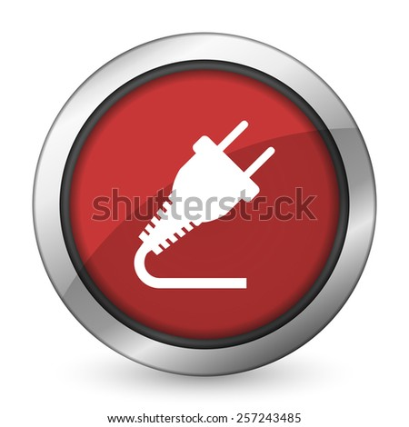 plug red icon electricity sign  - stock photo