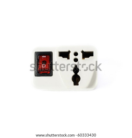 Plug with red power button isolated on white - stock photo