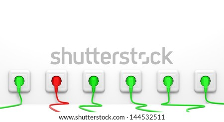 Plugs and socket. 3D illustration. - stock photo