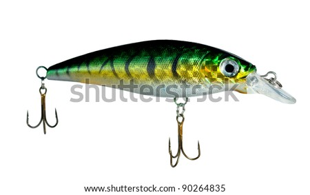 Plugs are a popular type of hard-bodied fishing lure - stock photo