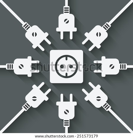 plugs around outlet -  illustration - stock photo