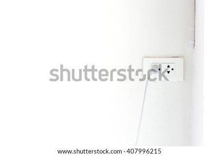 plugs on wall , interior - stock photo