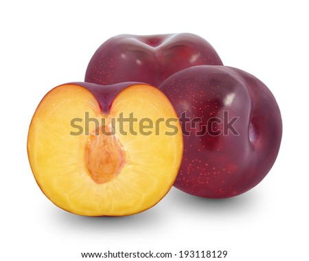 plum and half of plum on a white background - stock photo
