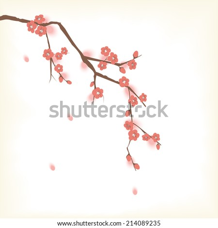 Plum blossom in Oriental painting style - stock photo