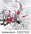 Plum Blossom in the Snow -Traditional Chinese Painting. - stock photo