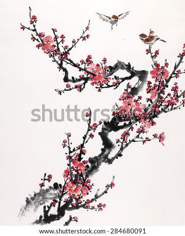 Plum Blossom on White Background-Traditional Chinese Painting. - stock photo