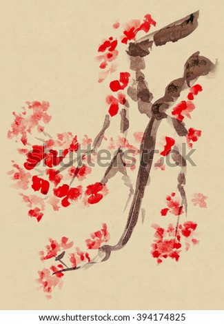 Plum Blossom -Traditional Chinese Painting - stock photo