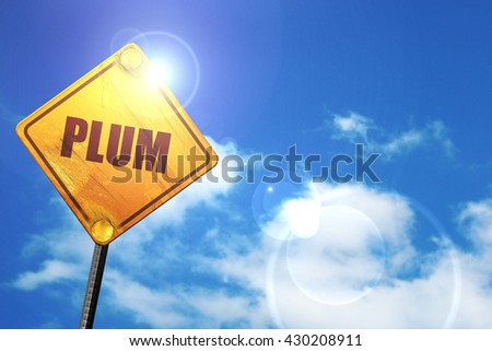 plum, 3D rendering, glowing yellow traffic sign  - stock photo